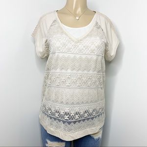 CHICO'S Neutral Lace Knit Short Sleeve Blouse M